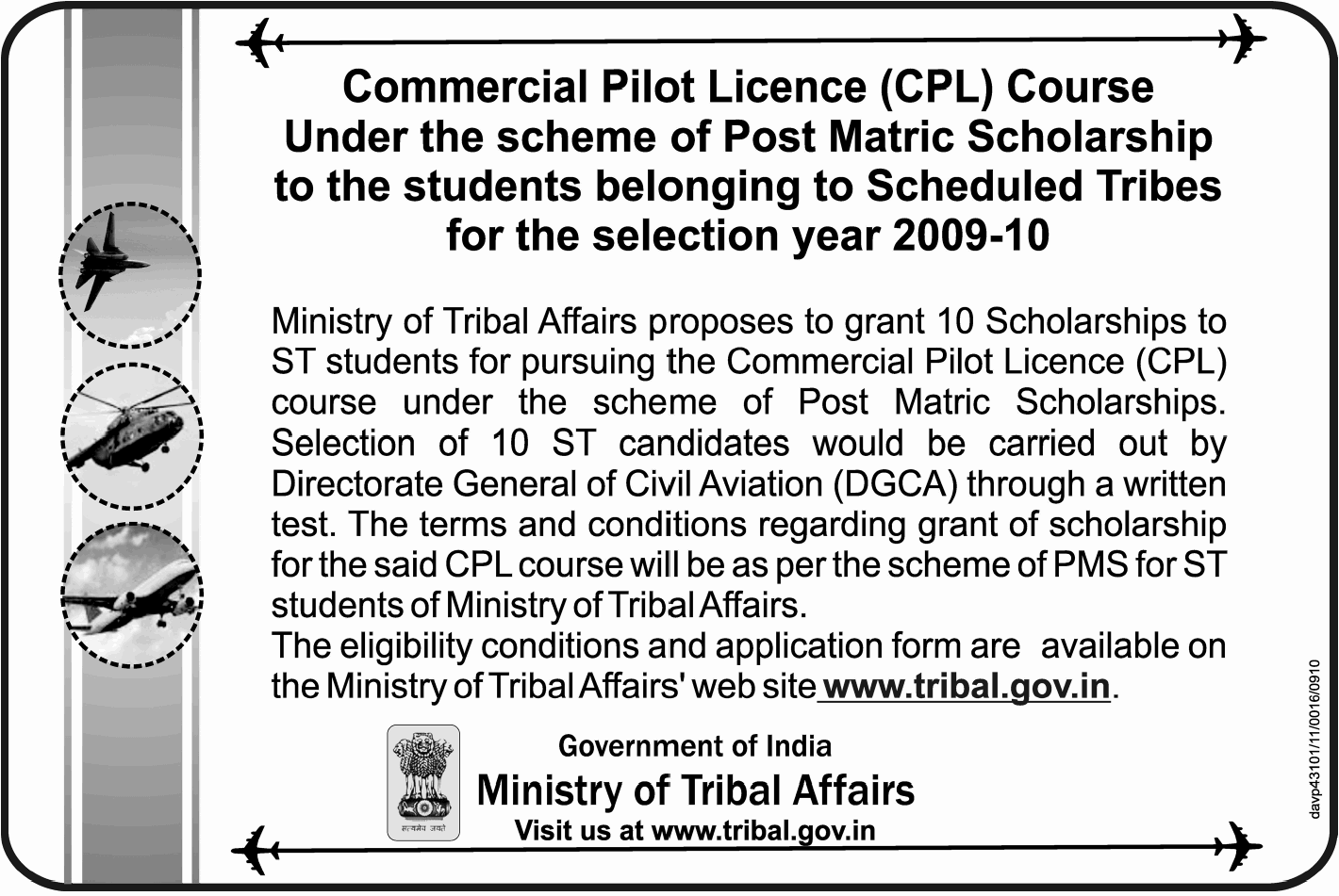 Post Matric Scholarship for Commercial Pilot Licence Course, India ...